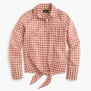 J Crew Tie Front Boy Shirt Orange Gingham Buttons